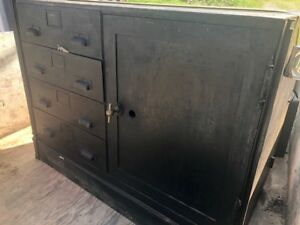 Vintage Steel Industrial Cabinet 4 Drawers Cabinet With Safe