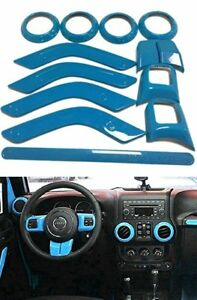 12pc Interior Decoration Trim Set For Jeep Wrangler Cab 4 Door 11 17 light Blue