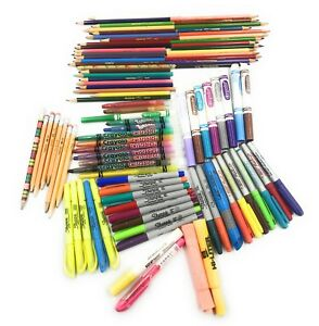 Bulk Lot Of 91 Permanent Markers All Sizes Tips Sharpie Bic Crayola Crazart