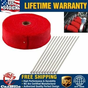 2 X 50ft Exhaust Header Fiberglass Heat Wrap Tape W 5 Steel Ties Kit 10 Ties