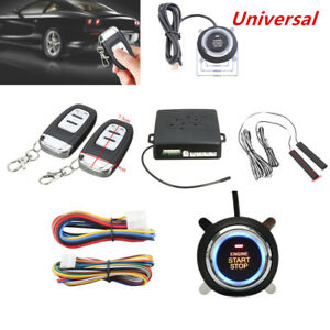 Car Alarm System Passive Keyless Entry Push Button Remote Engine Start stop Kit