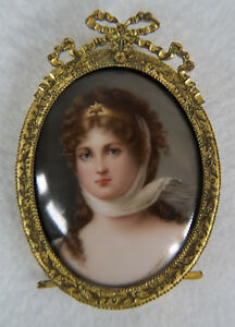 Antique Porcelain Hand Painted Miniature Plaque Queen Louisa Signed Wagner