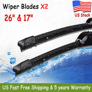2 Pack 26 17 Inch Bracketless Windshield Wiper Blades J Hook Oem Quality New