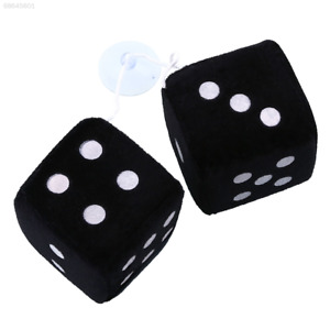 81c3 Pair Black Fuzzy Dice Dots Rear View Mirror Hangers Vintage Car Accessories