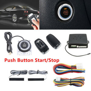 Set Car Alarm System Passive Keyless Entry Push Button Remote Engine Start stop