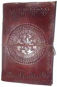 Floral Embossed Handmade Leather Journal Notepad Notebook Blank Paper Diary E10