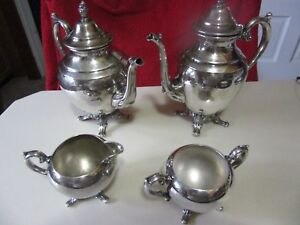 Vintage Footed Wm Rogers Coffee And Tea Set W Creamer And Sugar Bowl No Lid
