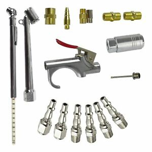 17pc Air Tool Compressor Accessory Kit Air Line Fittings 1 4 Bsp Tyre Blow Gun