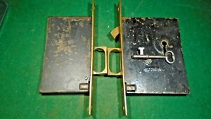 Pair Of Corbin Pocket Door Mortise Locks W Key Works Great 10812