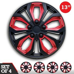 Hub Caps 13 Inch Car Spa Abs Red And Black Universal Fit Set 4 Pcs Wheels