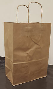 Paper Shopping Bags 100pcs Size 13x7x17 Brown Paper Handle Bags