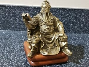Chinese Bronze Seat Guan Gong Yu Warrior God Guangong Dragon Statue