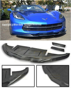 For 14 up Corvette C7 Stingray Carbon Fiber Aero Front Lip W Side Deflectors