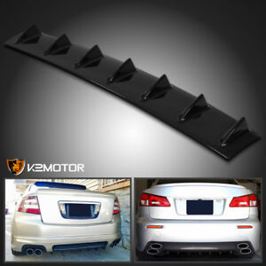 33 Rear Bumper Diffuser Spoiler Lip Wing Splitter Shiny Black Shark Fin Chasiss