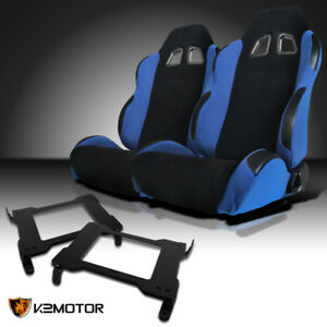 2005 2014 Ford Mustang Gt Black Light Blue Cloth Sports Racing Seats W Brackets