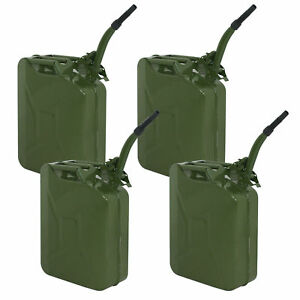 4pk Jerry Can 5 Gallon 20l Gas Gasoline Fuel Army Metal Steel Tank Holder