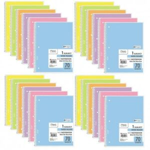 Wide Ruled Spiral Notebook 1 Subject One Notebooks Rule Assorted Pastel Colors