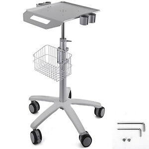 Mobile Rolling Medical Trolley For Ultrasound Imaging Scanner Cart Lab W basket