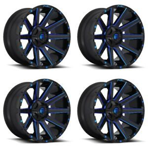 Set 4 22 Fuel Contra D644 Black Candy Blue Rims 22x12 8x170 44mm Lifted 8 Lug