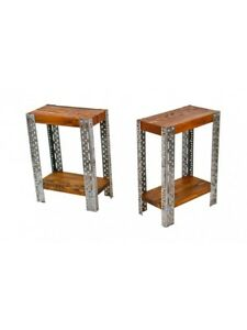 1940 S Industrial Slotted Acme Steel And Varnished Wood Two Tier Side Tables