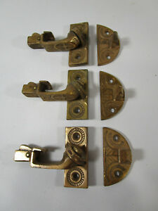 3 Antique 1876 Ornate Cast Brass Window Sash Locks Latches