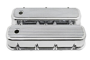 Finned Chrome Aluminum Tall Valve Covers For 65 95 Chevy Bb 396 427 454 502