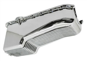 Chrome Finish Finned Aluminum 4qt Oil Pan For 80 85 Chevy Small Block 305 350