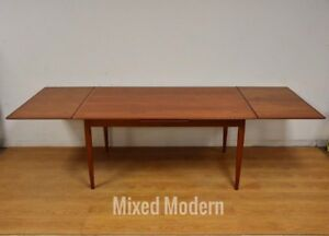 Danish Teak Mid Century Modern Draw Leaf Dining Table
