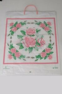 Plastic Shopping Bags 50pcs Size 18x7x22 5 White With Rose Hard Handle Bag