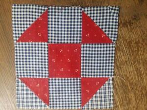 Antique Quilt Block Shoo Fly Grandmothers Choice Turkey Red 7 5 2 Avail