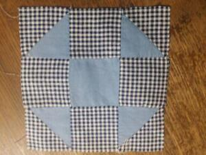 Antique Quilt Block Shoo Fly Grandmothers Choice Blue Solid 7 5