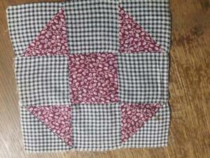 Antique Quilt Block Shoo Fly Grandmothers Choice Cranberry Black 7 5