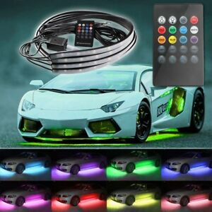 Car Underglow Underbody Led Neon Strip Light Kit 8color Sound Active W Remoter