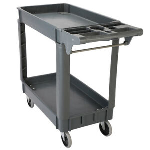 Plastic Utility Service Cart 550 Lbs Capacity 2 Tier Tool Cart 40 X 17 X 33