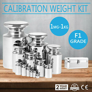 F1 Grade 1mg 1kg Stainless Steel Scale Calibration Weight Kit Set W Certificate