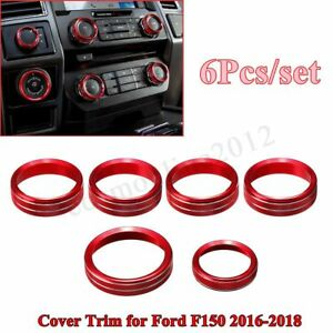 For 2016 18 Ford F150 6pcs Air Conditioner Audio Switch Knob Ring Cover Trim