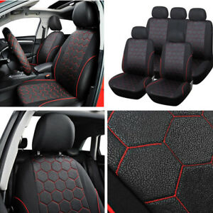 Soccer Ball Style Car Seats Set Cover Interior Accessories Black red Washable