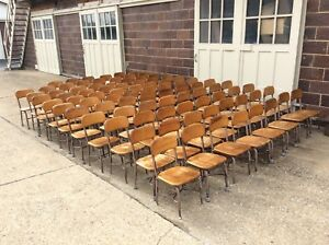 Vintage 85 Heywood Wakefield Wood Metal Student Size School Chairs Very Good