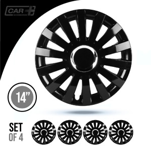 Set 4 Hubcaps 14 Wheel Cover Fontan Black Abs Easy To Install Universal Fit