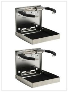 Pair Boat Stainless Adjustable Folding Bigger Drink Holders Mug Cup dia 3 3 8