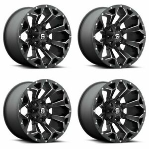 Set 4 20 Fuel Assault D546 Black Milled Wheels 20x10 8x170 18mm Lifted Ford