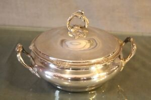 Vegetable Dish Soup Tureen Style Louis 15 Silvered Metal Signed Cailar Bayard