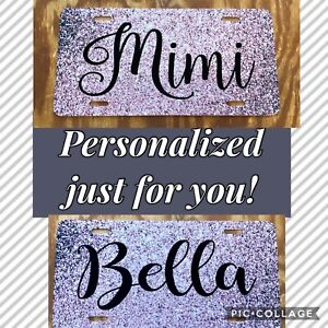 Rose Gold Glitter Like Personalized Monogrammed License Plate Car Tag Front New