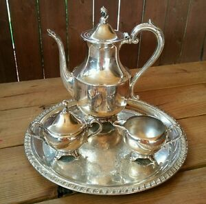 Wm A Rogers Silver Tea Set With Platter