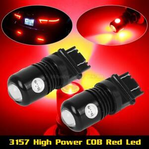 2x 3157 3156 High Power Cree Red Brake Stop Tail Turn Signal Led Light Bulbs