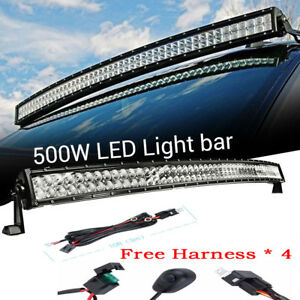 50inch 500w Led Light Bar Curved Spot Flood Waterproof Work Lamp W Wire Harness