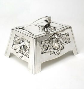 Art Nouveau Solid Silver Sugar Box Carl Stock Bruckmann And S Hne 1900 Germany