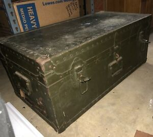 Authentic Vintage 1947 Poirier Mclane Corp Military Footlocker Trunk