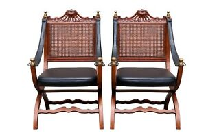 Italian Caned Leather Campaign Chairs A Pair