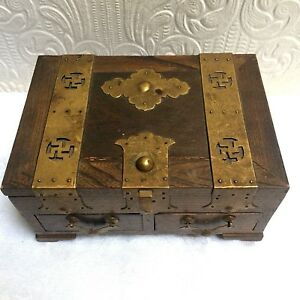 Antique Vintage Oak Brass Asian Or Arts And Crafts Jewelry Box